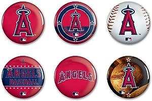 WinCraft MLB Angels WCR50957413 圆形按钮(6 件装),2 英寸