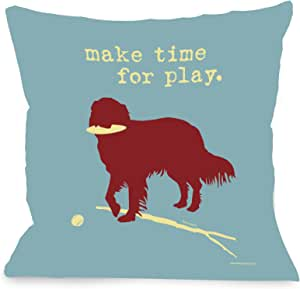 Bentin Pet Decor Make Time for Play Throw Pillow, 26 by 26-Inch