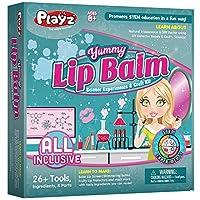Playz Yummy Lip Balm 化妆品和工艺套装,通过科学实验,打造水果唇膏、微光唇膏和太阳唇膏,适合女孩、青少年和儿童,8 岁以上儿童