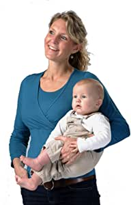 Carriwell Kaj Long Sleeve Nursing and Maternity Top (Extra Large, Petrol Blue)