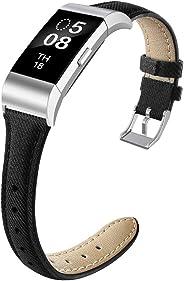 NAHAI 指环与 Fitbit Charge 2 兼容,细窄透气帆布面料替换腕带,修身运动腕带,适用于 Fitbit Charge 3 男士,大号