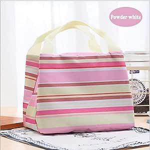 XJunion 午餐袋,女式拉链封口午餐袋,可重复使用的午餐袋保温午餐盒野餐袋 粉末白色