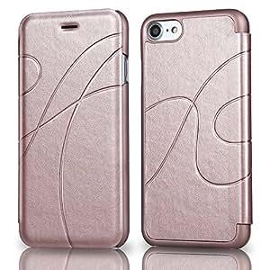 iPhone 8 手机壳、iPhone 7 手机壳、Reexir 皮革翻盖钱包手机壳适用于 Apple iPhone 8 / iPhone 7 玫瑰金
