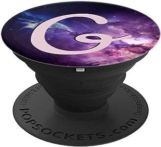 字母 G 礼物 Galaxy Space Monogram 字母 G PopSockets 手机和平板电脑握架260027  黑色