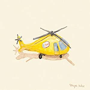Oopsy Daisy Yellow News Helicopter Stretched Canvas Art by Tonya Kehoe, 14 by 10-Inch
