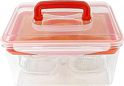 Kinetic GoFresh Tritan 拾音器套装,含注塑板,425.27 毫升和 2 个玻璃罐,每罐 510.92 毫升 橙色 unknown