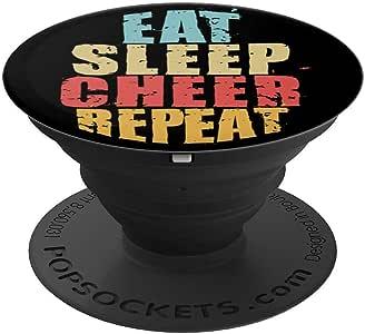 Eat Sleep Cheer Repeat 励志礼物 ACE001d PopSockets 手机和平板电脑握架260027  黑色