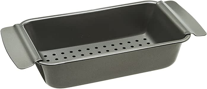 """Ecolution Bakeins Healthy Meat Loaf Pan Set - Loaf Pan and Perforated Tray - PFOA, BPA, and PTFE Free Non-Stick Coating - Heavy Duty Carbon Steel - Dishwasher Safe - Gray - 9"""" x 4.875"""" x 2.5"""""""