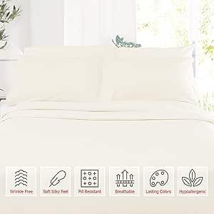 幼儿尺寸床单套装,超细纤维丝滑柔软婴儿床床单,低*性幼儿床单,透气柔软舒适婴儿床单,28 英寸 x 52 英寸带枕套 米白色 Toddler - Toddler Pillowcase