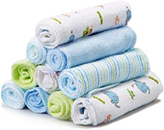 Spasilk Washcloths, Blue Elephant, 10-Count