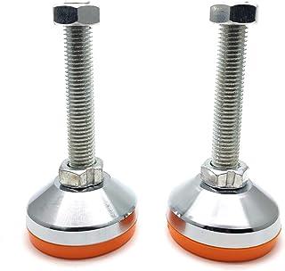 Addlike 橱柜水平脚腿 D60xM12x100 金属替换家具腿 2.4 英寸底座橙色 2 件装