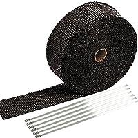 SunplusTrade 5.08 厘米 x 1.27 米黑色排气热卷适用于摩托车玻璃纤维隔热胶带带不锈钢扎带