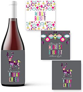 Shabby 圣诞节花卉酒瓶标签(15 个装)乡村节日派对用品礼品贴纸多用途