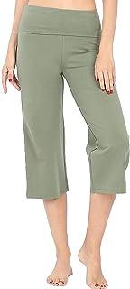 Re.Born 女式舒适修身格子七分裤瑜伽运动裤带折叠腰带[S-3XL]