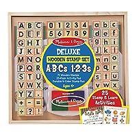 Melissa & Doug 豪华字母和数字木制印章套装 ABC 123s 带活动书,4 色印台