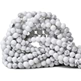 CHEAVIAN 45 颗 8 毫米天然粉紫翠宝石圆形散珠石珠用于珠宝制作 DIY 配件 1 条 38.1 厘米 白色 Howlite 6mm CV-BS-6
