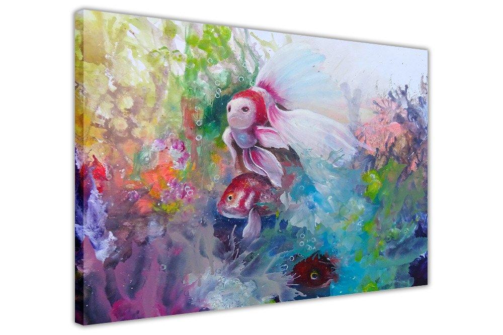 海中的热带鱼加框帆布墙壁艺术印刷品动物图片家居装饰油画重新印刷图片