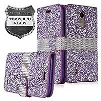 LG K30 LM-X410,Xpression Plus,Phoenix Plus X410AS,Harmony 2,CV3 Prime,Premier Pro LTE L413DL - 水晶钻石翻盖钱包手机壳 + 钢化玻璃屏幕保护膜 FDS99 Purple/Glitter