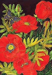 托兰岛家庭花园罂粟花 31.75 x 45.72 厘米装饰性彩色艺术红色弹簧罂粟花花园旗