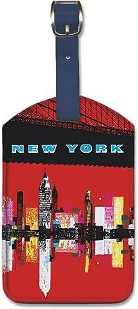 人造革复古艺术行李标签 - 纽约
