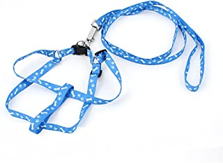 Uxcell Bone Paw Print Adjustable Pet Puppy Dog Harness Leash, 4', Blue