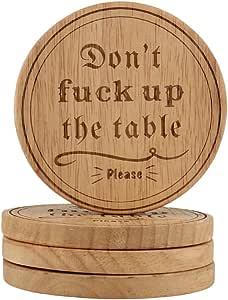 个性化杯垫婚礼杯垫定制杯垫定制杯垫乡村风格杯垫交织字母杯垫雕刻杯垫、乔迁礼物男士礼物、Hostess 礼物 FBA- Design 1 - Round 4英寸