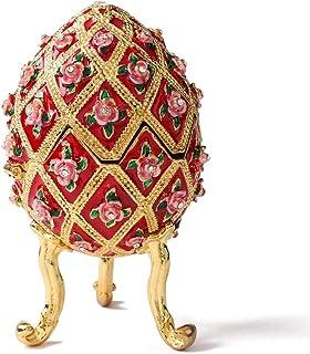 Furuida 法贝热蛋风格钻石花朵珐琅首饰小盒铰链维多利亚装饰品家居装饰礼品(红色)