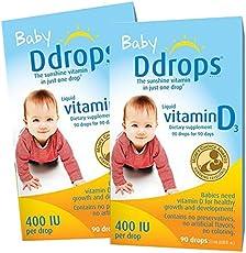 美版 Ddrops 加拿大婴儿维生素D3滴剂2.5ml 400IU 90滴*2瓶 助钙吸收 [跨境自营]包税