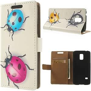 JUJEO 多重瓢虫图案钱包皮革手机壳带支架三星 Galaxy S5 Mini - 非零售包装 - 多色