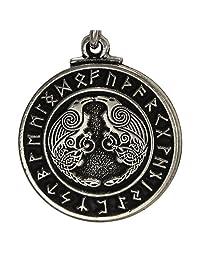 Pewter Odin's Ravens Huginn 和 Muninn Norse Rune 吊坠珠宝