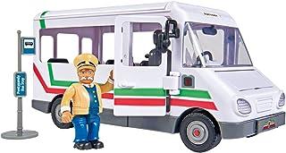 Simba 消防员山姆特雷弗斯公交车,带特雷弗公仔,带碰撞功能,门和屋顶,可打开,21厘米,适合3岁以上儿童