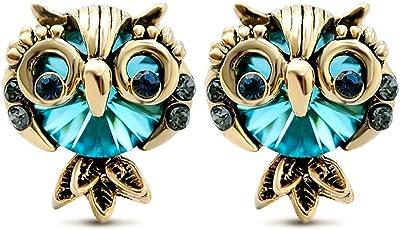 LNKRE JEWELRY 女士 可爱猫头鹰水钻宝石耳钉