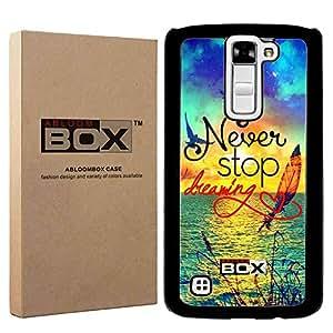 LG Stylo 2 手机壳,LG G Stylus 2 手机壳,ABLOOMBOX(TM) [B] 硬塑料手机壳纤薄后盖适用于 LG Stylo 2 LS775 [黑色] 零售包装 Sea Sun Bird and Feather Drawing