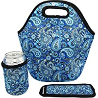 Neoprene Insulated Lunch Tote Bag Paris Set - Waterproof Thick Cooler Carry Bag for Travel and Picnic Paisley Design Set