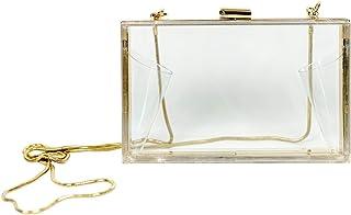 MB Greene 设计师盒式透明体育场批准钱包斜挎包,带有用于晚会、音乐会和体育活动的链子(包括隐私袋 - 价值 10.00 美元)