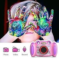 女孩儿童相机生日礼物,适合年龄4-8岁的双自拍,2英寸屏幕录制视频照片玩游戏,防震儿童数码相机,适合幼儿初学生