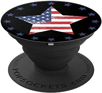 美国国旗手机抓地力美国星和条纹做旧 - PopSockets 手机和平板电脑抓握支架260027  黑色