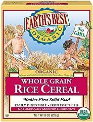 Earth's Best 婴儿谷物麦片 全麦米糊 8盎司(227克)每盒