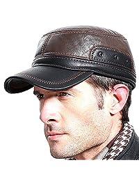 Molodo 男士冬季皮革毛皮棒球报员帽子耳翻盖Trapper 狩猎帽