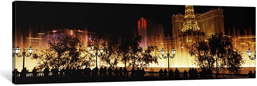 """iCanvasART 1 Piece Hotels in a City Lit up at Night, The Strip, Las Vegas, Nevada, USA #2 Canvas Print by Panoramic Images, 48 x 16""""/0.75"""" Deep"""