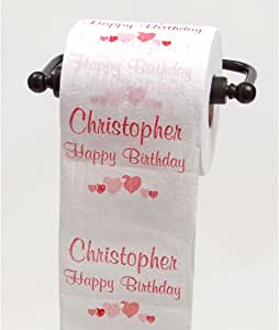 JustPaperRoses 生日快乐马桶纸 - 25 个男性名字 Christopher TPNameChristopher
