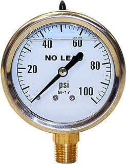 Merrill MFG PGLNL100 0-100 PSI 无铅液体填充不锈钢表壳压力计,黄铜/不锈钢
