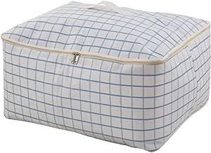 "R&S 厚超大服装储物袋,床上用品/毯子收纳盒,可水洗,防潮 格子图案 24 * 20 * 11"""