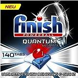 Finish Quantum Ultimate 洗碗机用洗涤块,不含磷酸酯,具有强大的清洁,溶解油脂和光泽作用,大包装140片