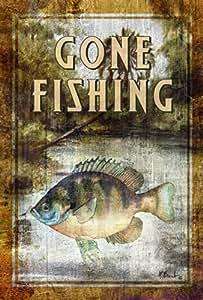 托兰 家居花园蓝宝石钓鱼 31.75 x 45.72 cm 装饰质朴户外鱼运动花园旗帜
