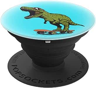 滑板恐龙 T Rex 趣味礼物 儿童恐龙粉丝男孩女孩 PopSockets 手机和平板电脑握架260027  黑色