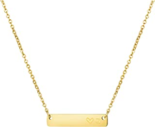 Joycuff 个性化 18K 金首字母棒项链伴娘礼物不锈钢精致字母吊坠可爱字母雕刻
