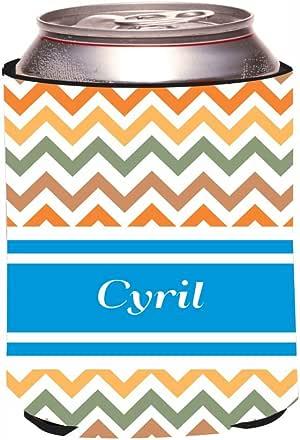 "Rikki Knight""Cyril"" Blue Chevron Name Design Beer Can/Soda Drinks Cooler Koozie"