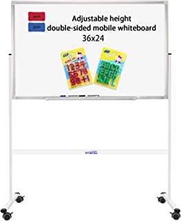 """双面移动大白板磁性白板车轮 - Comercial 滚动白板,带坚固支架,适用于家庭、办公室和学校 mini 36""""x24"""" 白色"""