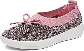 Trsorini 女式乐福鞋平底鞋,时尚一脚蹬运动鞋,轻质透气蝴蝶结网眼休闲鞋,适合女性步行旅行、驾驶和工作连衣裙